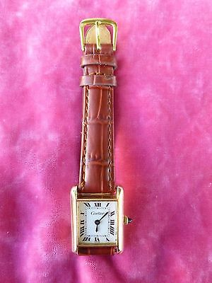 AUTHENTIC 70'S CARTIER 18K GOLD PLATED WOMAN'S TANK WATCH, OVERHAULED, NEW STRAP