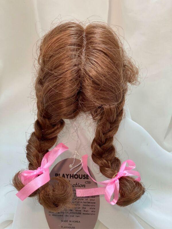 "7/8"" Pigtails Pink Bows Auburn Doll Wig Reborn OOAK BJD Bisque Repair JENNIFER"