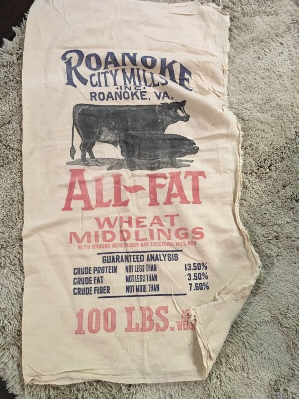Old  Antique 100lb. Feed Sack Roanoke City Mills Inc.