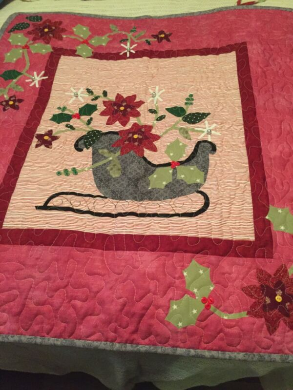 handmade quilted christmas sleigh wall hanging