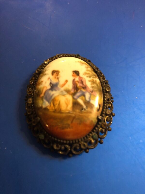 Antique Cameo Brooch Painted Porcelain   Man/Woman Ornate Frame