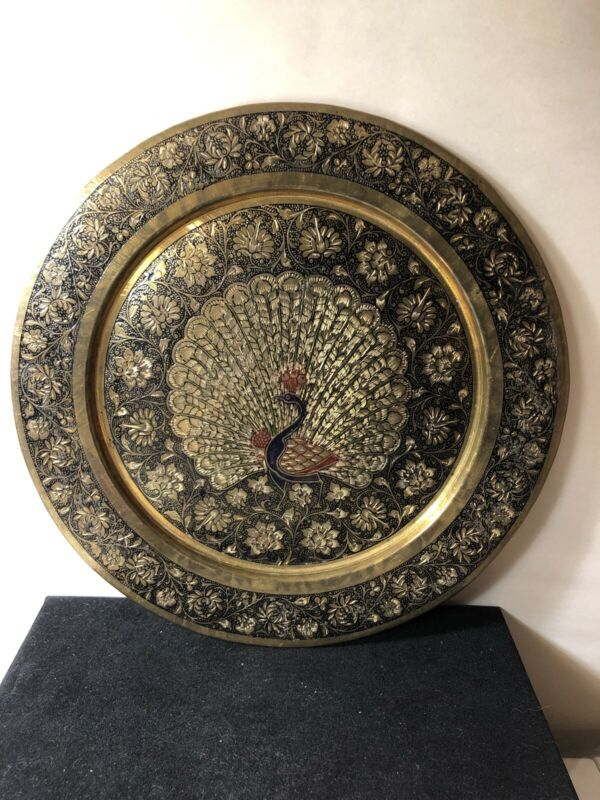 Peacocks Brass Vintage Etched Wall Plate Floral
