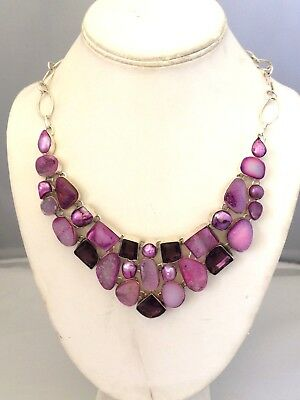 .925 STERLING SILVER PLATED PINK DRUZY & AMETHYST NECKLACE