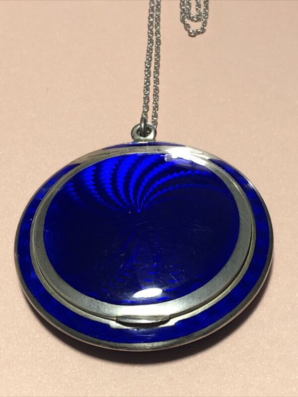 English Sterling Silver, Blue Guilloche Enamel Ladies Compact  - 935  -  ESTATE