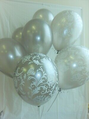 Used, Silver Balloons Damask, Latex ,Shower Decorations,Anniversary Birthday Party for sale  Port Republic