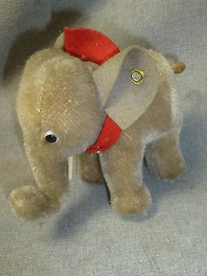 alter Steiff Elefant Mohair mit Knopf H/L10x13cm gebraucht /S2.2