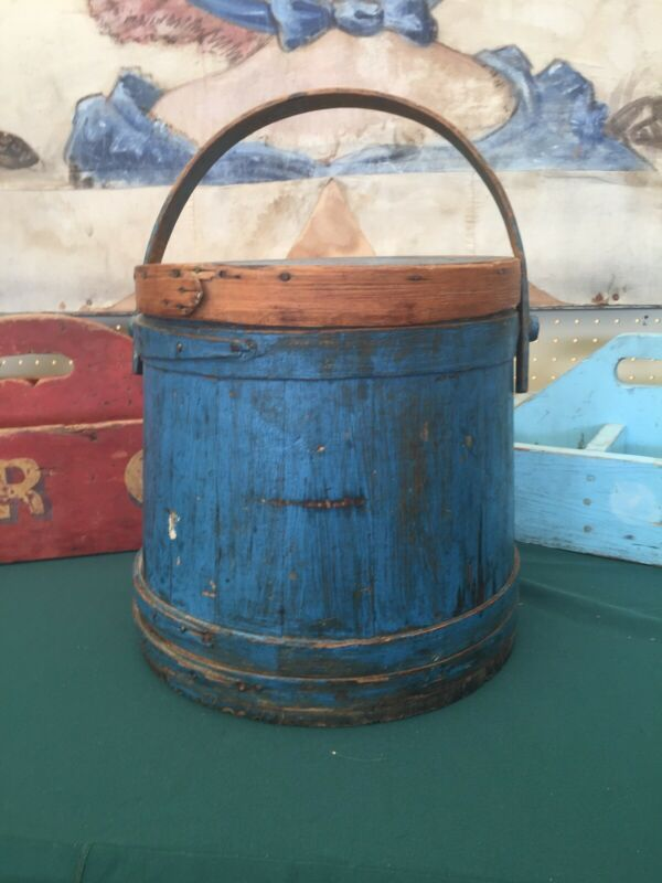 Antique Primitive Blue Firkin Bucket Aafa