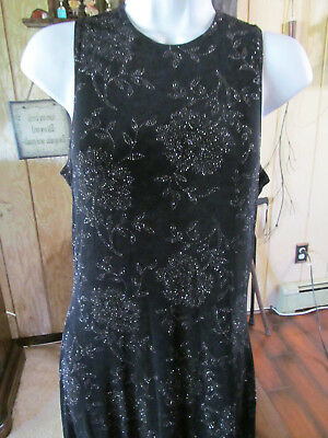 Marian & Maral Black Stretch Dress with Silver Glit Flower Design Size M