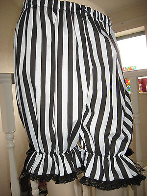 Adult Pirate Black White Stripe Lace Sissy Long Bloomers Pantaloons 24,26,28,30 - Adult Bloomers