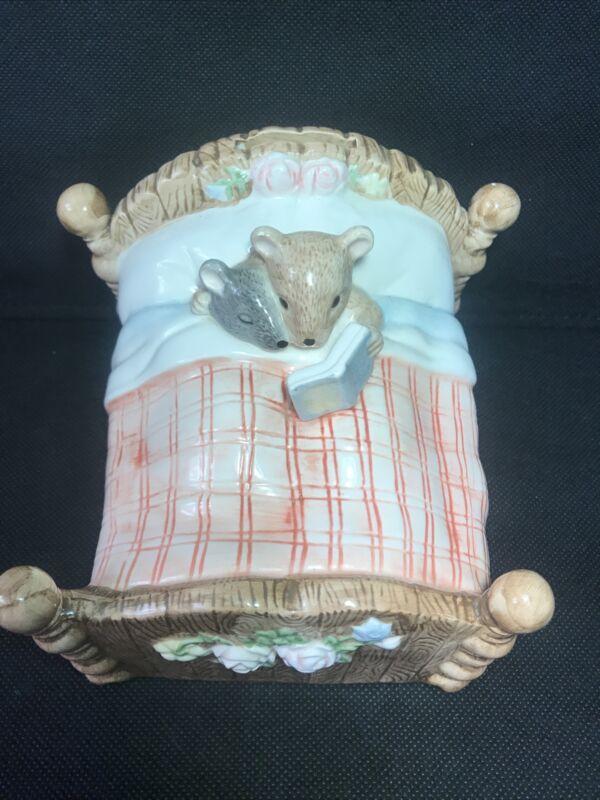 Vintage Terragrafics Piggy Bank 1975 Mice in bed