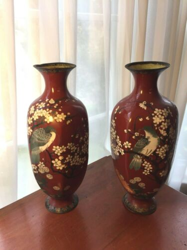 """Pair Antique Japanese Meiji Cloisonné Tall Brown Vases with bird 14 3/4"""""""
