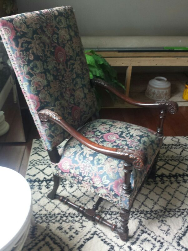 Antique High Back Carved Chippendale Chair Oversized Arm Chair Beautiful