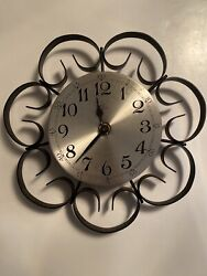 Vintage Wrought Iron 10 Elgin Welby Wall Clock Retro Mid-Century Modern