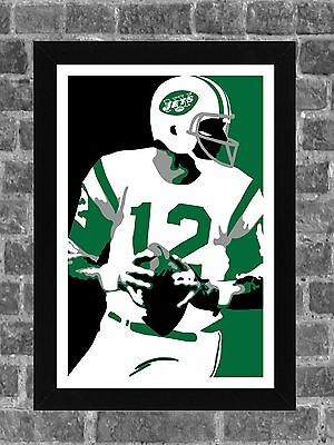 New York Jets Joe Namath Portrait Sports Print Art 11x17 - New York Jets Art