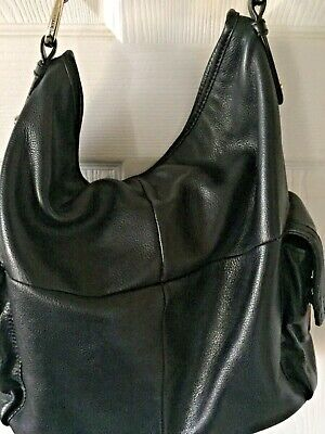 B Makowsky Large Black Pebble Leather Purse Handbag Bag