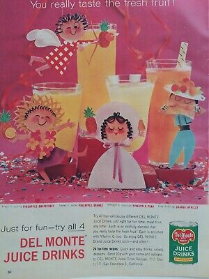 1959 Del Monte fruit juice drinks Mary Blair art figures vintage ad