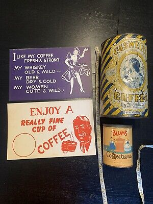 Caswells Coffee Can, Blums Coffeeteens Tin Old Vintage Cafe Sign Advertising Lot