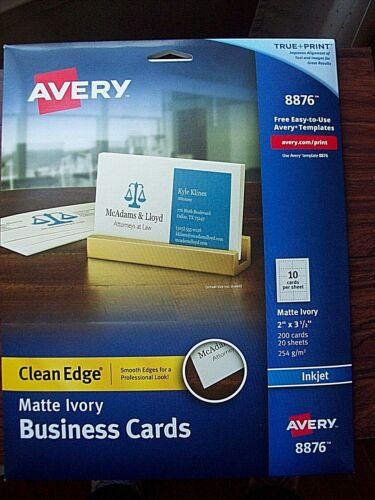 "Avery Clean Edge Business Cards Matte Ivory 2"" x 3-1/2"" 200 Cards (8876)"