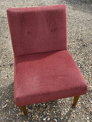 Vintage Retro Teak Framed TV / Bedroom / Nursing Chair - Wine / Burgundy