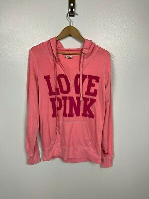 Pink Vs Woman Sweat Jacke M Top Hoodie Cut Off V-Ausschnitt Love Rosa