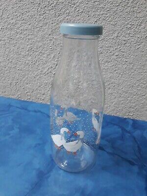 Milchflasche aus Glas mit Entenmotiv Glasflasche mit Deckel Saftflasche