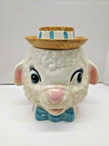 1960s Vintage Metlox-Poppytrail Lamb Head with Straw Hat Ceramic Cookie Jar