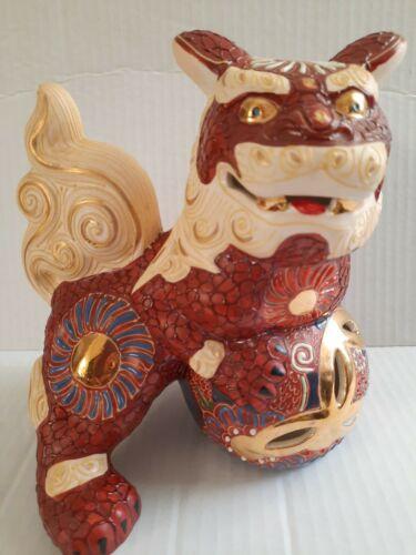 Super Cool Vintage Ornate Kutani Shisa Foo Dog Temple Guardian Andrea By Sadak - $25.99