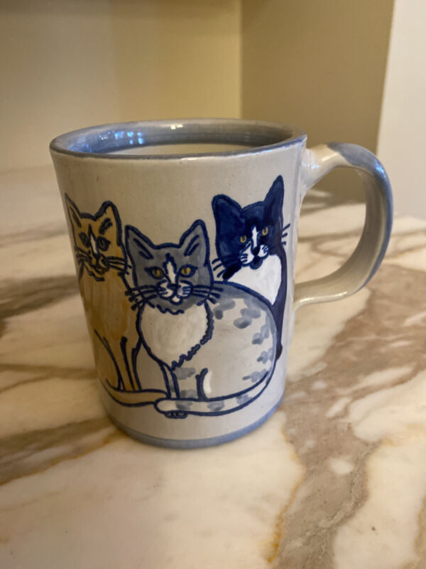 Louisville Stoneware  Cats Paw Prints Coffee Mug Cup