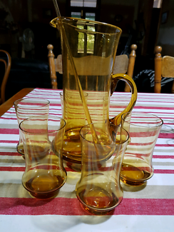 Retro Jug And Six Glasses With Tear Drop Stirrer