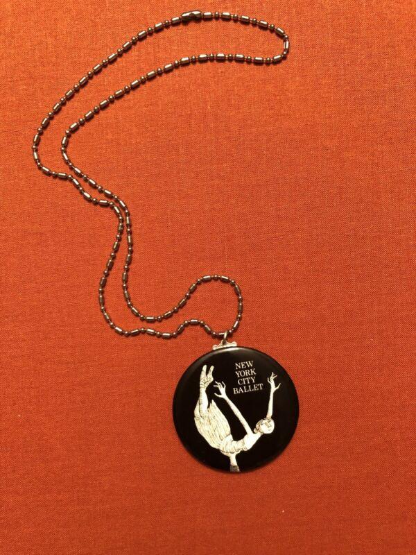 Edward Gorey New York City Ballet Pendant, Mirror-Backed Button on a Chain