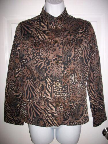 Chico's Women's Brown & Black Floral Jacket Size 1