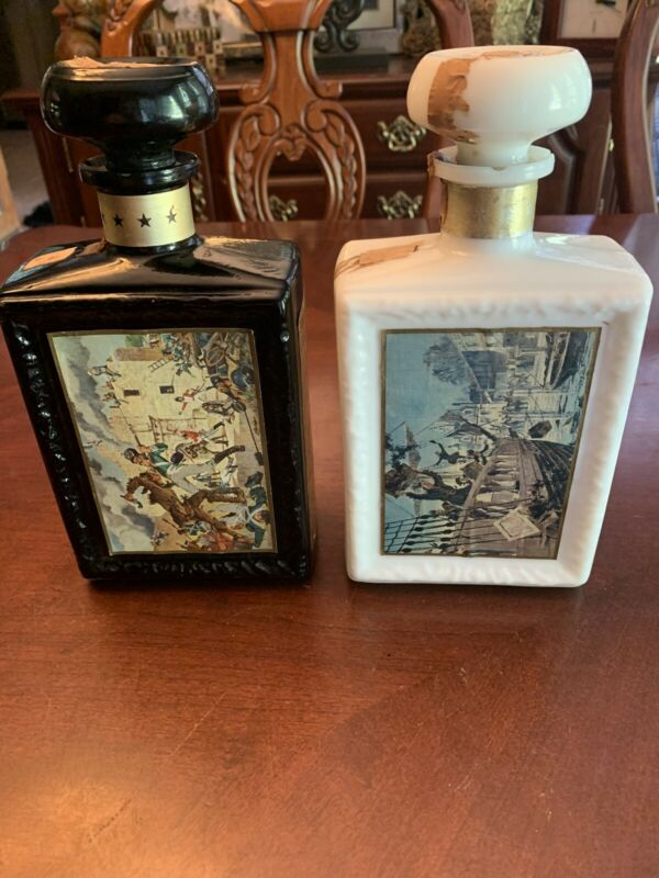 Set Of 2 Jim Beam Decanters American Collection Of Great Moments In History