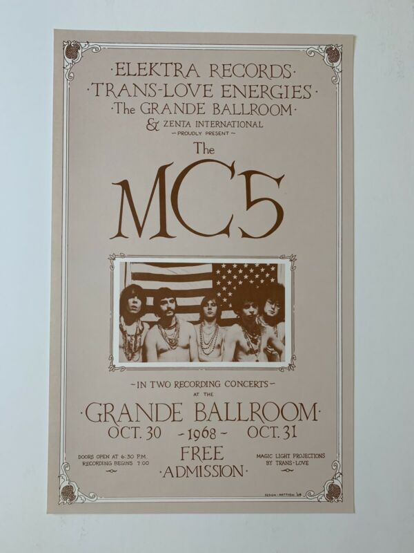 "MC5 at the Grande Ballroom 1968 ""Trans-Love Energies"" Poster"