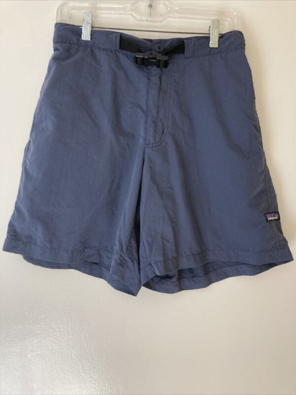 PATAGONIA SHORTS 100%NYLON BLUE Ladies MEDIUM 3 Pockets Zip Up Buckle Belt