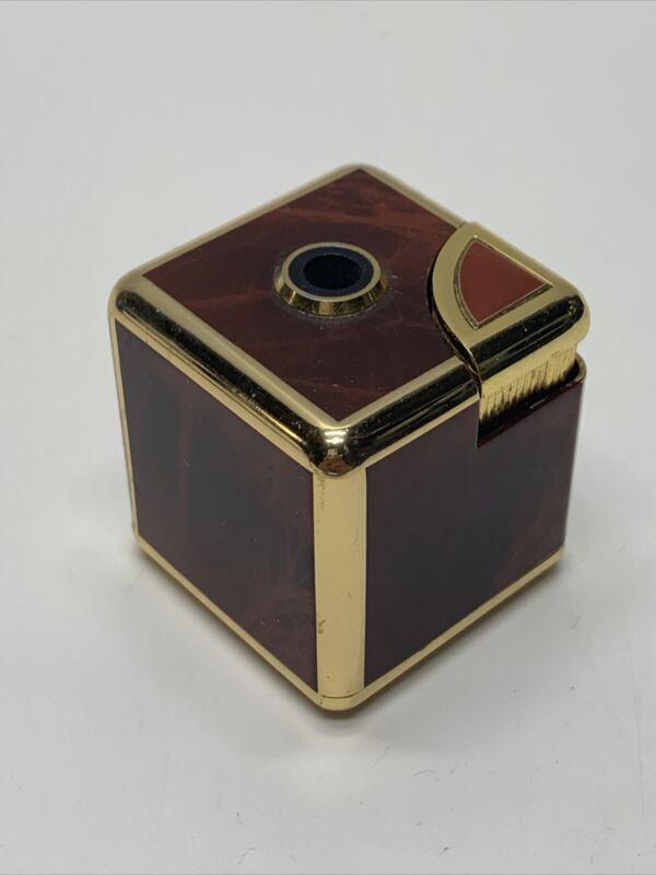 "Vintage Rare Colibri 1.5"" Cube Square Electro-Quartz Butane Table Lighter"