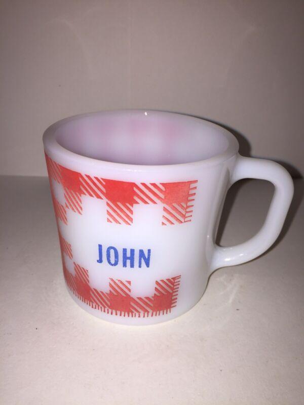"Vintage Westfield Milk Glass Mug ""John"" Red Plaid Near Mint Condition"