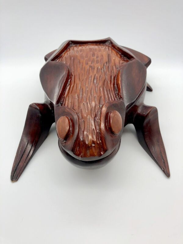 "Vtg Hand Carved Frog Box Sculpture Indonesian Balinese Large 11""  Wood Carving"
