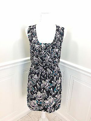 New  Leifsdottir Anthropologie Pavo Real Silk Feather Print Dress Size 4