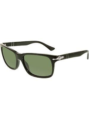 Persol Men's PO3048S-95/31-58 Black Rectangle Sunglasses