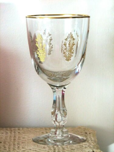Tiffin Glass PALAIS VERSAILLES Gold Encrusted Cut 6 3/4 Inch Water Goblet (s)