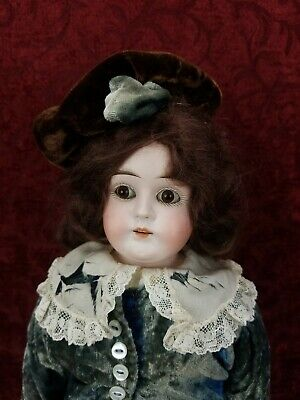 Antique German Bisque Shoulder Head Mystery Doll Paperweight Eyes Boy 15 inches German Boy Clothes