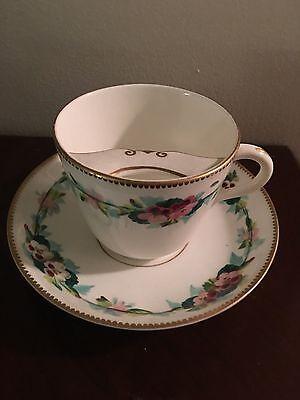 Antique/Vintage Flow Floral Porcelain Mustache Cup and Saucer