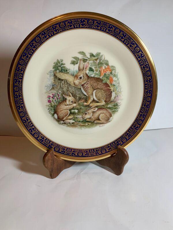 1975 Lenox Boehm Annual Ltd Woodland Wildlife Rabbits Plate Cobalt & Gold