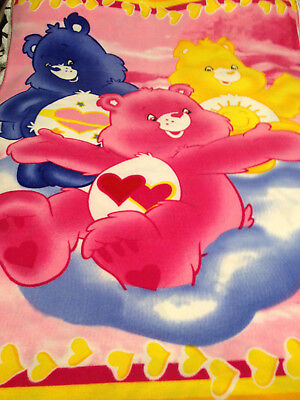 Care Bear Large Child Baby Blanket Plush Bright Rainbow Heart Crib 2006 64x47 for sale  Shipping to India