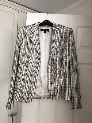 Kasper Blazer Sz 10 Black White Multi Business Cocktail Evening Jacket Blazer