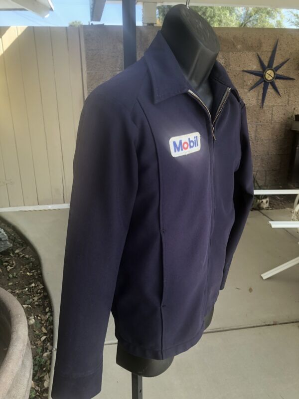 Vintage Mobil Oil Service Station Attendant Jacket with Logo Medium Unitog USA