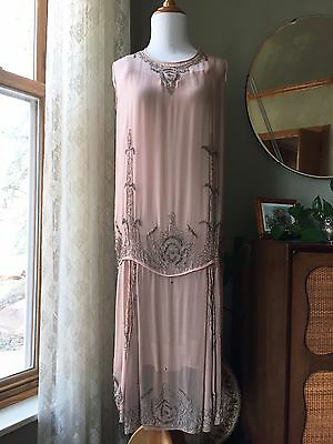 20s Beaded Dress Blush Pink Silk Chiffon Flapper 1920s Slip Lined Fleur De Lis