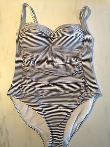 Ladies Striped Bathing Suit Size 14