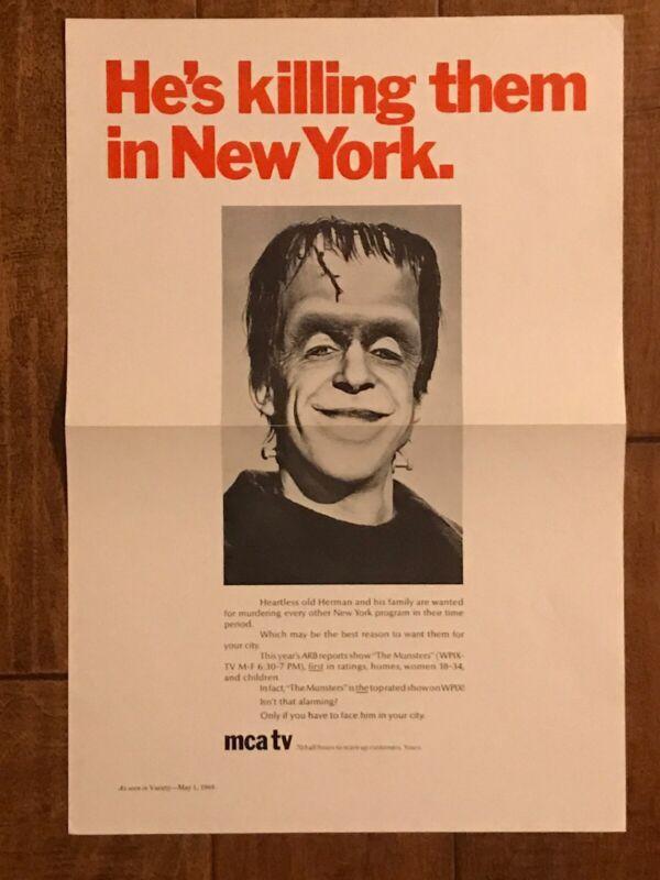 The Munsters - RARE Oriignal TV Poster - Fred Gwynne
