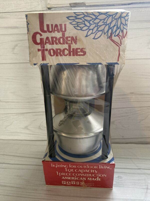 Set Of Two VTG Aluminum Luau Garden Torches By Patio Products U.S.A New in box
